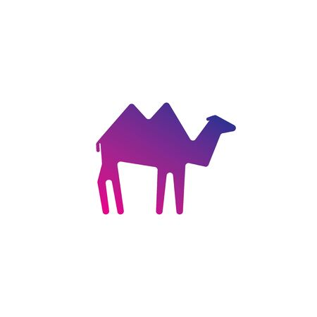 camel in desert: Camel template in minimalistic flat style Illustration