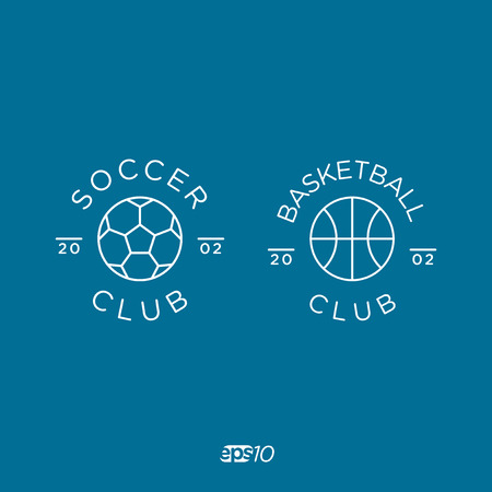 collegiate: Soccer, Football and Basketball Club Line icon Template Set