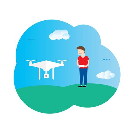 controlled: Drone controlled by the boy template Illustration