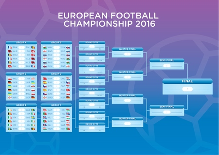Euro 2016 Footbal Match schedule, template for web, print, football results table, flags of european countries. Ready for printing. Illustration