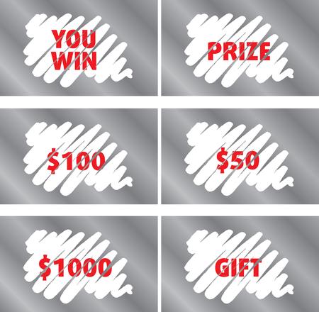 Modèle Lottery Scratch Card Set Isolated