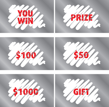 Lottery Scratch Card Template Set Isolated
