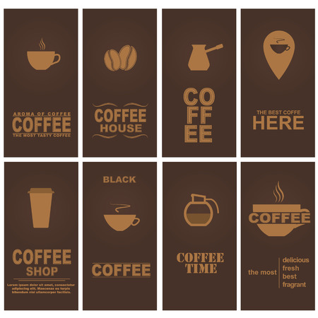 Design cards for coffee cafe, restaurant or shop. Set. Vector illustration. Vector