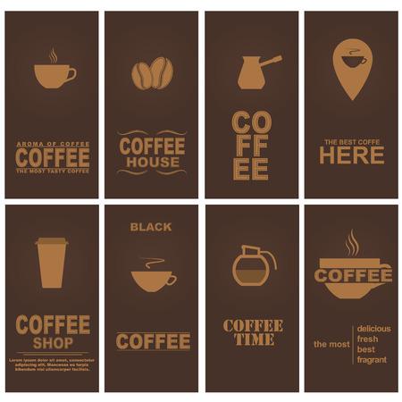 Design cards for coffee cafe, restaurant or shop. Set. Vector illustration. Vector