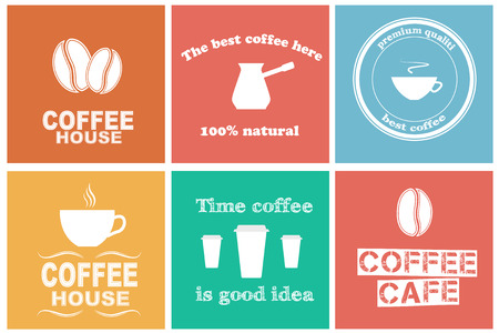 Design elements for coffee shops and cafes. Set of stickers. Vector illustration Vector