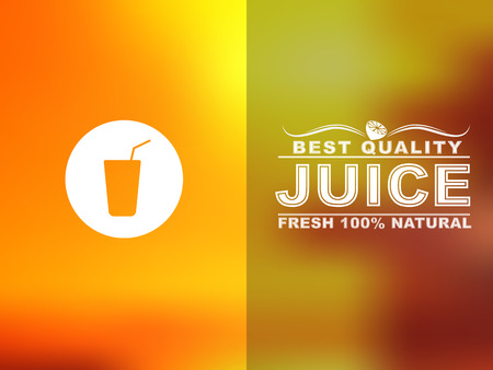orange yellow: Design cards for juice cafe or shop. Blurred background. Vector illustration.