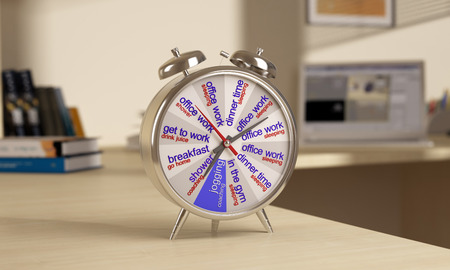 Chrome alarm clock is on the table, on tsiferbleate schedule photo