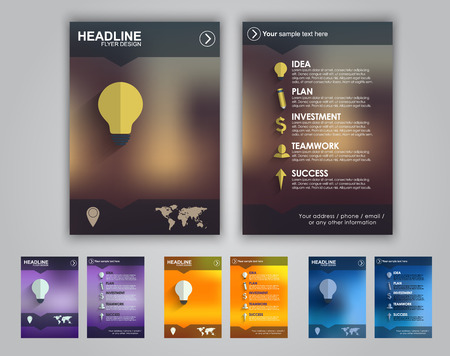creative ideas: Set of colored flyers for advertising or marketing. Icons and text on the topic of business placed on a blurred background.