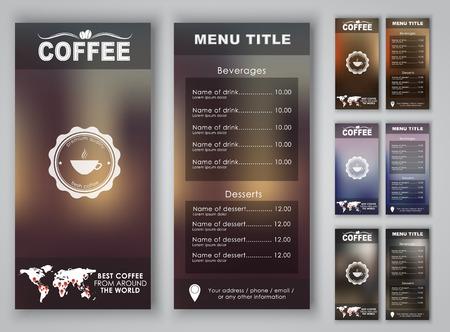 Diseño del menú con el fondo borroso (folletos, carteles, folletos) para la cafetería o el café. Ilustración del vector. Set.