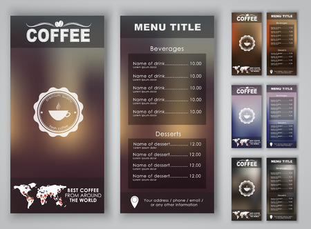 coffee: Menu design with blurred background (flyers, banners, brochures) for the coffee shop or cafe. Vector illustration. Set. Illustration