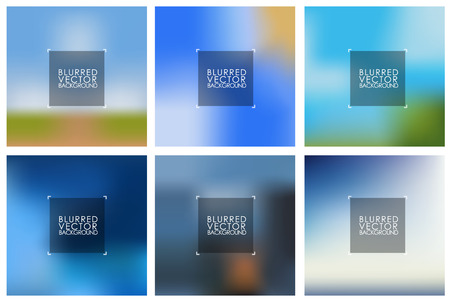 Set of vector blue blurred backgrounds for design and web. Vector