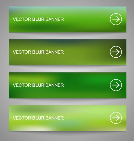 Set of vector green  blurry banners for web design