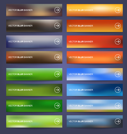 Set blurred colored banners for web design. Vector illustration