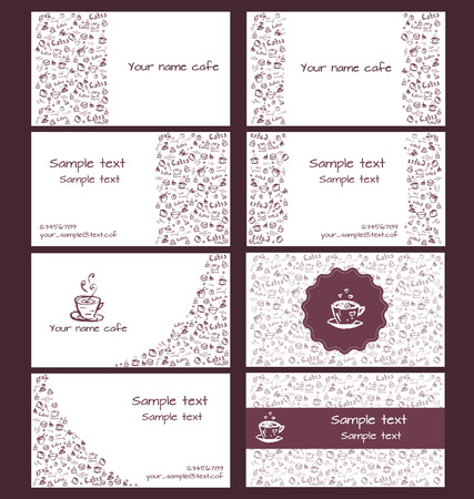 Set of vector business cards for coffee shops and cafes. Vector
