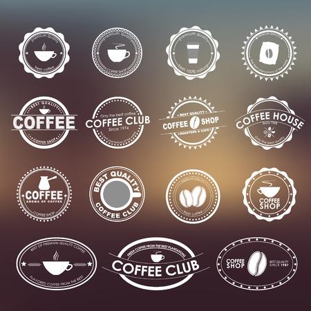 semilla de cafe: Conjunto de la vendimia en el fondo borroso, para las cafeterías, cafés y restaurantes.