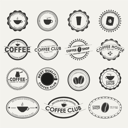 Set of vintage logo on a white background, for coffee shops, cafes and restaurants.