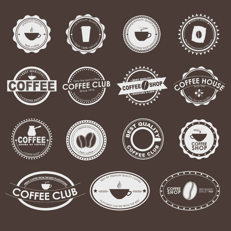 빈티지 갈색 배경에 로고, 커피 숍, 카페, 레스토랑의 세트입니다.