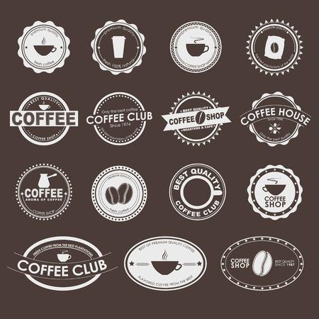 Jeu de logos vintage sur un fond brun, cafés, cafés et restaurants. Banque d'images - 39454208