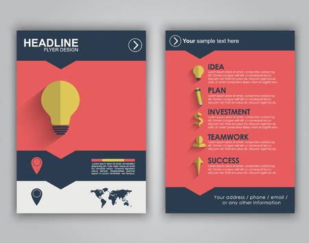 creative ideas: Design flyers, brochures, booklets, covers for advertising or marketing. Icons in a flat style on business theme with long shadows and text.