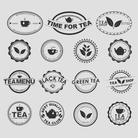 tea: Set of vintage on a white background for tea shops, cafes and restaurants. Vector element design, , stickers, icons, business signs.