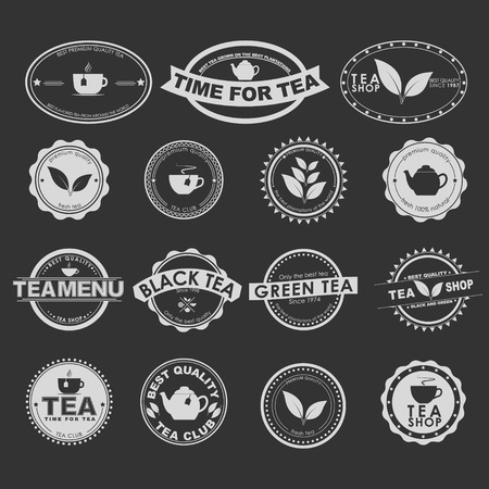 Set of vintage on a black background, for tea shops, cafes and restaurants. Vector element design, stickers, icons, business signs. Vector