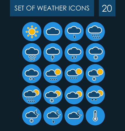blizzards: Set of weather icons for the interface. Vector illustration.