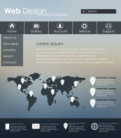 web site design template: Menu design for web site with different interface elements. Template, blurred background.