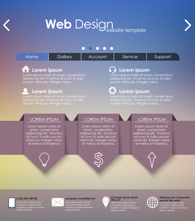 web site: Menu design for web site with different interface elements. Template, blurred background.