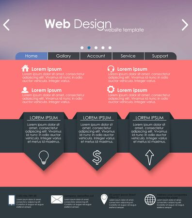 web site design template: Menu design in a flat style for the web site with different interface elements. Template.