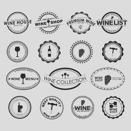 Set of vintage on a white background for wine shops, cafes or restaurants. Vector element design, , stickers, icons, business signs. Illustration