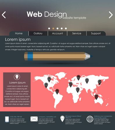 sidebar: Menu design in a flat style for the web site with different interface elements. Template.
