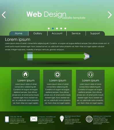 interface elements: Menu design for web site with different interface elements. Template, blurred background.