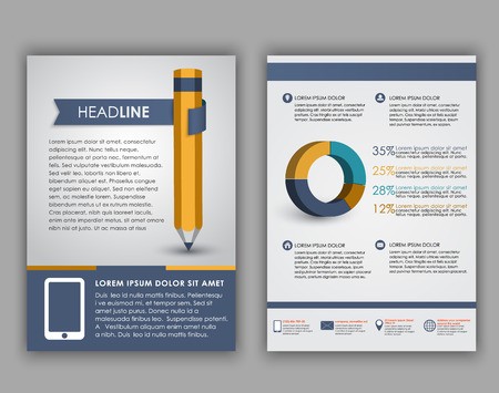 flyer background: Design of flyers, brochures and booklets with elements of infographics and a pencil on the cover. Vector illustration. set