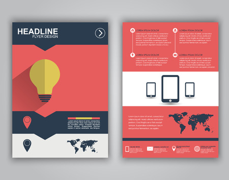 Design flyers, brochures, booklets, covers for advertising or marketing. Icons in a flat style on business theme with long shadows and text.