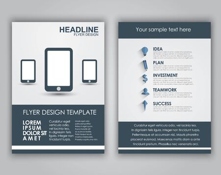 brochure template: Design business flyers (brochures, covers) in a flat style with long shadows. Vector illustration.
