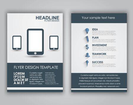 fond de texte: Flyers conception d'affaires (brochures, couvertures) dans un style plat avec de longues ombres. Vector illustration.