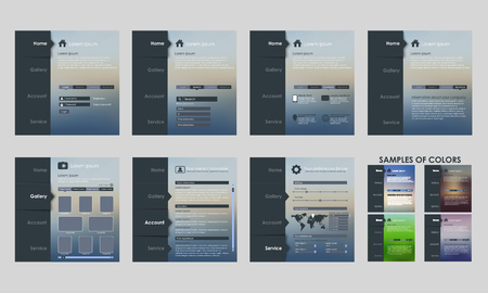 web site design template: Design vector template interface for mobile applications, software, web site (UI). Set. blurred background