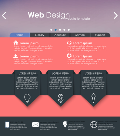 interface elements: Menu design in a flat style for the web site with different interface elements. Template.