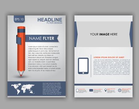커버에 infographics 및 연필 요소 요소와 전단지, 브로셔 및 소책자의 디자인. 벡터 일러스트 레이 션. 세트