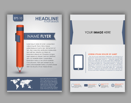 Design of flyers, brochures and booklets with elements of infographics and a pencil on the cover. Vector illustration. set