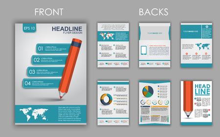Conception de dépliants, brochures et livrets avec des éléments de l'infographie et un crayon sur le couvercle. Vector illustration. ensemble Banque d'images - 41946498