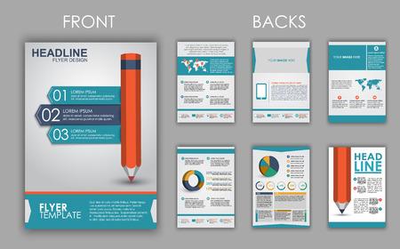 인포 그래픽의 요소와 표지에 연필로 전단지, 팜플렛 및 책자의 디자인. 벡터 일러스트 레이 션. 세트