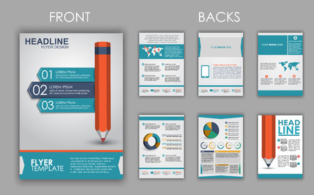 brochure design: Design of flyers, brochures and booklets with elements of infographics and a pencil on the cover. Vector illustration. set