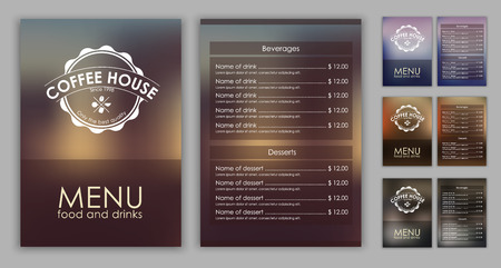 Menu design with blurred background (flyers, banners, brochures) for the coffee shop or cafe. Vector illustration. Set. Vectores