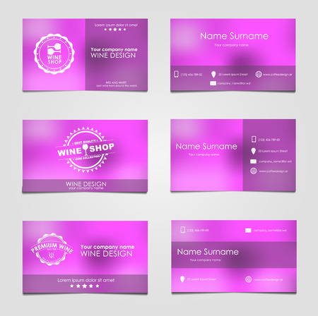 business it: Set of business cards for wine with blurred background and a wine logo on it for the cafe, a company or shop. Set of vector illustrations.