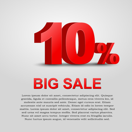 Design a poster for sale. 3D text with 10% percent discount. Vector illustration Vectores
