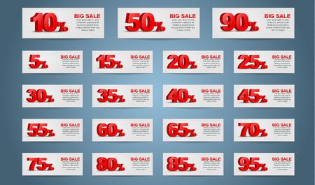 판매 배너의 큰 세트. 3D 텍스트는 할인 비율을 나타냅니다.