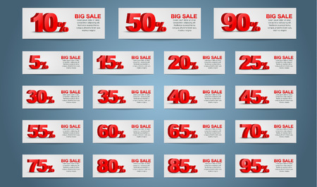 A large set of banners for sale. 3D text indicates the percentage discount.