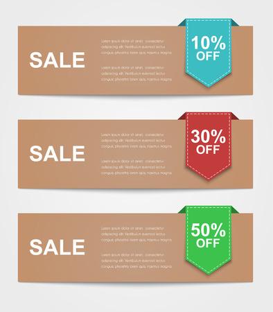 Ensemble de bannières colorées à vendre. Texte du ruban indique le style discount.Retro de pourcentage. Banque d'images - 43420306