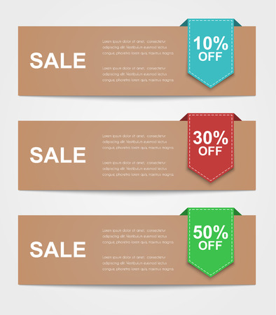 Set of colored banners for sale. Ribbon text indicates the percentage discount.Retro style.